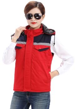 红色乐动体育官网棉马甲,反光条冬季棉马甲