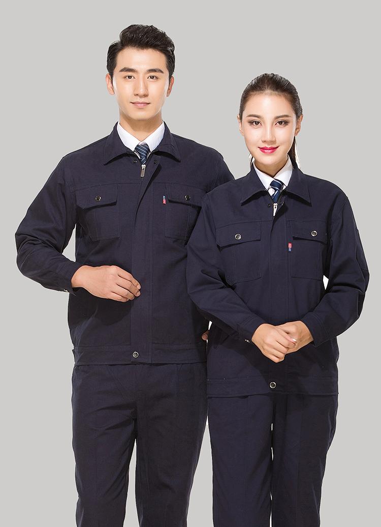 全棉纱卡藏青色拉链式乐动体育官网长袖套装GZ-8021