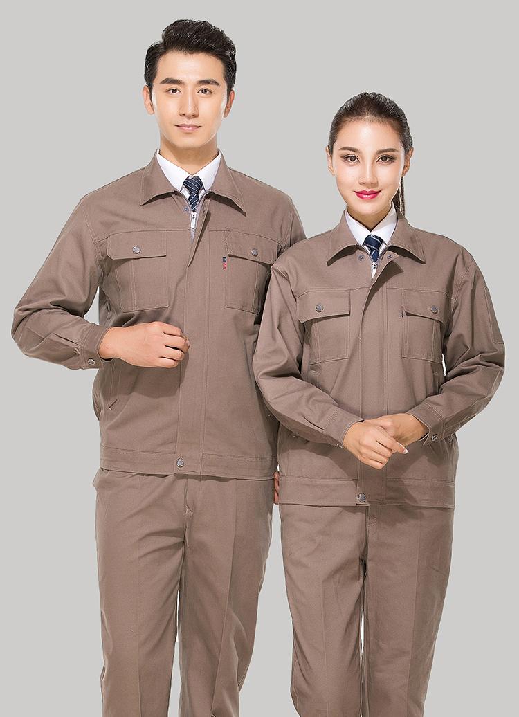 全棉纱卡卡其色拉链式乐动体育官网长袖套装GZ-8022