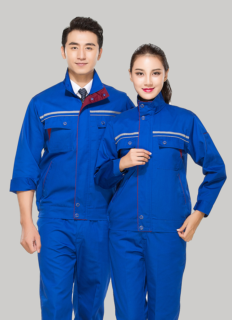 涤棉宝蓝色立领拼色拉链式反光条乐动体育官网长袖套装GZ-8025