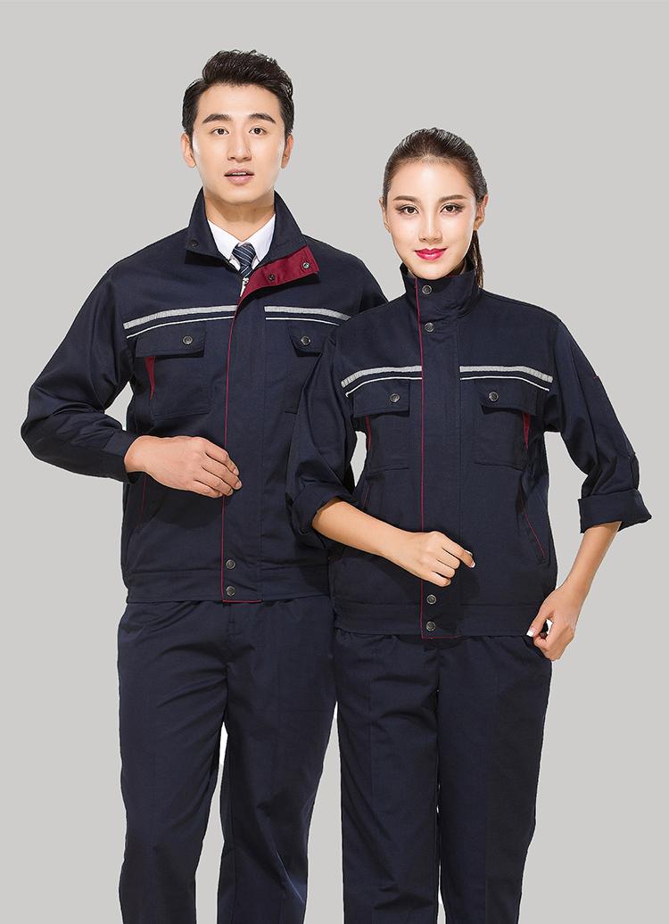 涤棉藏青色立领拼色拉链式反光条乐动体育官网长袖套装GZ-8026