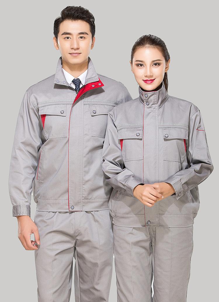 涤棉浅灰色立领拼色拉链式反光条乐动体育官网长袖套装GZ-8027