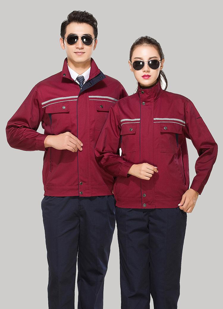 涤棉枣红色立领拼色拉链式反光条乐动体育官网长袖套装GZ-8028