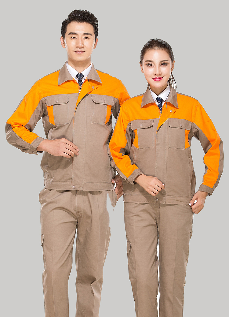 淮南全棉乐动体育官网定做款式灰色拼桔黄色长袖套装GZ-8017
